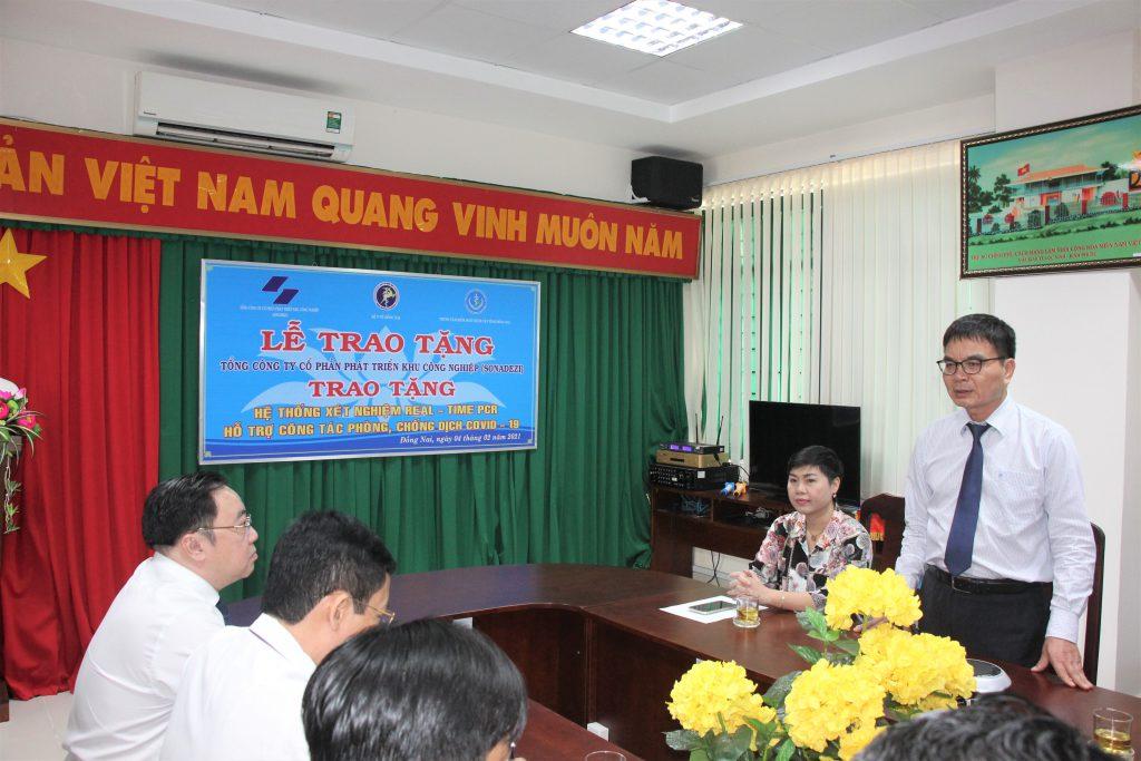 Ông Phan Đình Thám – TGĐ Tổng công ty Sonadezi phát biểu tại buổi trao tặng Hệ thống xét nghiệm Real-time PCR
