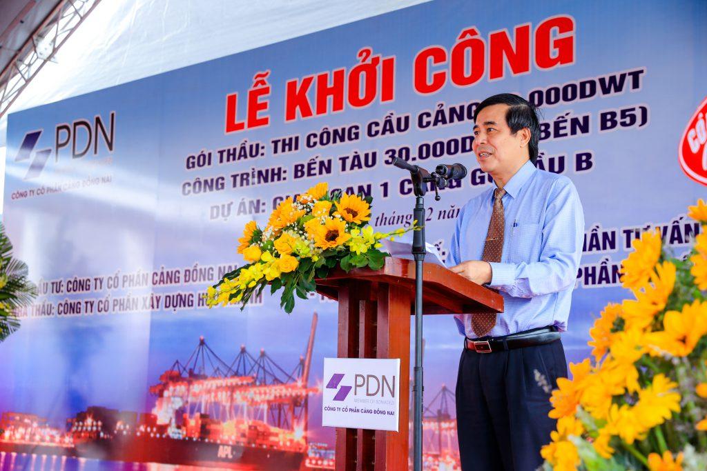 Ông Trần Thanh Hải - Chủ tịch HĐQT Công ty CP Cảng Đồng Nai phát biểu tại lễ khởi công Bến tàu B5